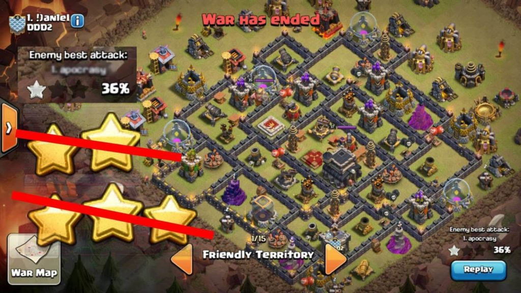 Town hall 9 war base anti 1 Star