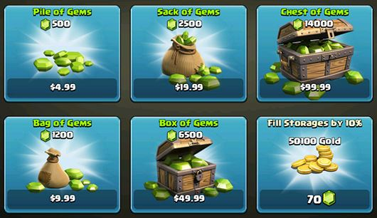 buy clash of clans gems without credit card