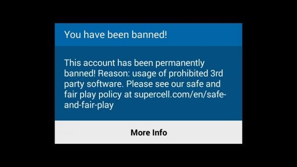 clash of clans ban permanent cheater